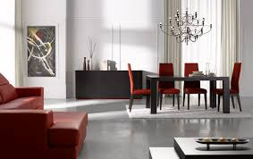 abstract wall art also black buffet design plus innovative chandeliers and red upholstered chairs in modern the first dining room sets a good