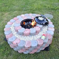 brick fire pit view in gallery moon shaped concrete blocks fire brick fire pit plans