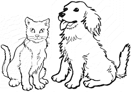 dogs and cats coloring pages