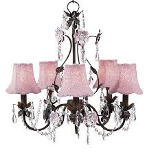 5 arm flower garden pink and brown chandelier optional pink beaded shades
