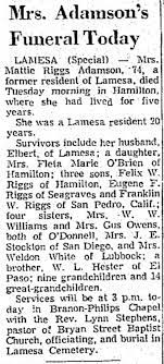 Mattie Viola Hester Riggs Adamson - Obituary - 1969 - Newspapers.com