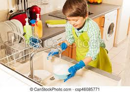 boys washing dishes.  Boys Nice Boy Wash Dish In Sink Under Water From Tap  Csp46085771 On Boys Washing Dishes R