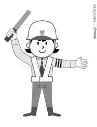 女性警備員 誘導業務 モノクロ イラストのイラスト素材 43067016 Pixta
