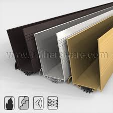 aluminum casing with kick plate and rain drip design door shoe with rubber fingered seal tmhardware