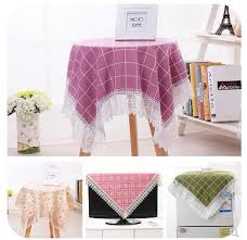round tablecloth bedside table cover cloth cotton and linen small fresh plaid tablecloth multifuncti