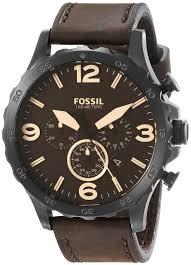 amazon com fossil men s jr1487 nate stainless steel watch amazon com fossil men s jr1487 nate stainless steel watch brown leather band fossil watches