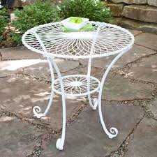 round 30 inch outdoor patio bistro table in gloss white steel wi