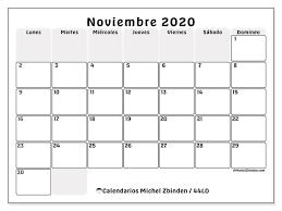 Calendario Noviembre 2020 Para Imprimir Calendarios Noviembre 2020 Ld Michel Zbinden Es