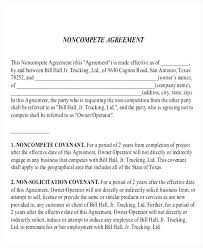 Noncompete Clause Non Compete Clause Blank Agreement Danafisher Co