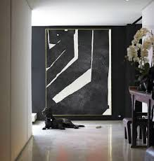 large abstract painting canvas art black white acrylic painting on canvas handmade original art