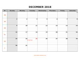 Free Download Printable December 2018 Calendar Large Box Grid