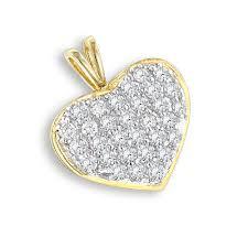 14k gold 1 carat diamond heart pendant by luxurman yellow image