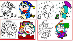 Doraemon Coloring Pages Book Doraemon Colouring Learn Colors
