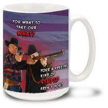Finally, a coffee mug with security! Gun Rifle And Handgun Mugs Second Amendment Ak47 Glock Automatic Rifle Coffee Mugs
