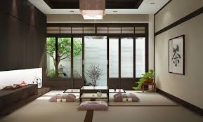 Furniture Modern Japanese Living Room With Brown Coffee Table Japanese Living Room Design