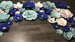 White Paper Flower Backdrop Paper Flower Backdrop With Royal Blue Baby Blue White And Gold