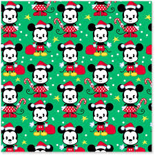 Disney Mickey And Minnie On Green Christmas Wrapping Paper Roll