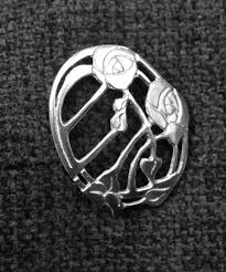 charles rennie mackintosh style oval flower brooch