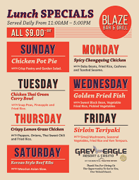 specials menu blaze lunch specials menu grey eagle