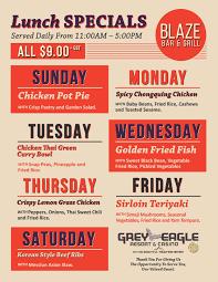 specials menu blaze lunch specials menu grey eagle