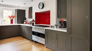 interesting dark grey shaker kitchen cabinet painted also white porcelain countertop as decorate simplistic modern galley grey kitchens ideas