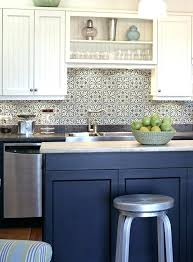blue tile backsplash kitchen white