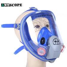 chemical 7suits large view full facepiece gas mask dust respirator painting pesticide spraying silicone mask filter