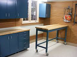 diy metal furniture. DIY Makeover Garage Design With Wood Wall Cladding Panels And Blue Metal Cabinet Plus Table Countertop Wheels Ideas Diy Furniture