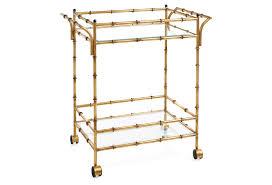bamboo bar cart. Iron Bamboo Bar Cart With Wheels In Antique Gold Finish O