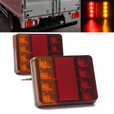 Truck Tailgate Lights Us 8 22 14 Off 2pcs 8 Led Truck Rear Tail Lights Warning Lighting Rear Lamps 12v Waterproof Tailights Rear Parts For Trailer Truck Lorry Boat In Car
