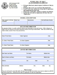 watercraft bill of sale free oregon boat vessel bill of sale form pdf word doc