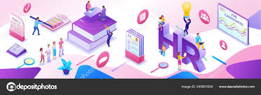 Office Banner Template Hr Department Isometric Horizontal Banner Template