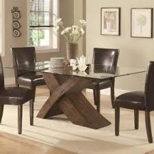 Wood base glass top dining table 1