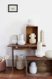 Vases and wooden boxes