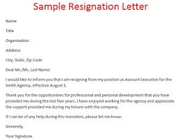 Example Resignation Letter Samples Of Resignation Letters