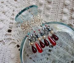 silver red chandelier earrings long silver red teardrop gray crystal chandelier earrings