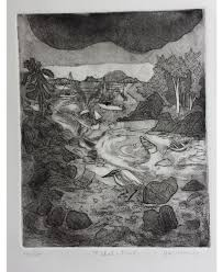 """Tide Pool"""" original, framed etching by Avis Fleming Hodge is a fabulous  depiction of the Chebeague Shore"""