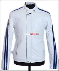 lethal weapon men s white blue stripes retro racer real sheep leather jacket