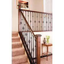 Stairs, Enchanting Wrought Iron Stair Railing Kits Indoor Stair Railing  Kits Home Depot Dark Brown