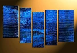 royal blue wall art blue abstract canvas wall art 5 piece prints print home decor royal