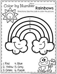 colors of the rainbow worksheet. free preschool worksheet - color by number spring rainbow (clown of god) colors the i