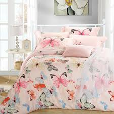 luxury erfly queen king size bedding sets pink quilt duvet cover sheets bed in a bag bedspreads bedsheets linen silk tencel bedlinens linens double