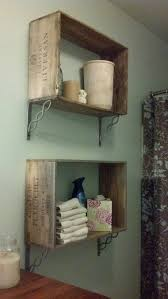 Wine crate shelves. I'm not big on the brackets, but great way