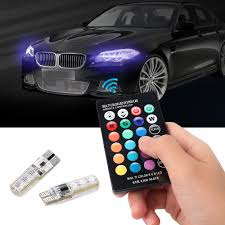 Automotive Led Light Controller Details About 2x T10 W5w 5050 6smd Rgb Led Multi Color Light Car Wedge Bulbs Remote Control