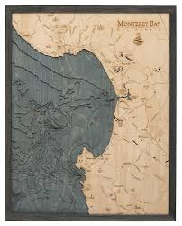 Nautical Wood Charts Monterey Bay California 3 D Nautical Wood Chart Large