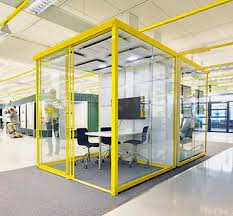 pods office. Glass Office Pod With RAL Yellow Painted Frame. Pods