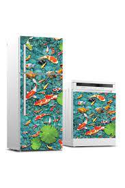 Buzdolabı ve Bulaşık Makinası Sticker Kaplama Kırmızı Balıklar - Duvar  Dekorasyon Sticker