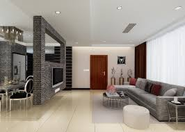 wall between dinning room and living room | Brick TV wall as partition  between living and