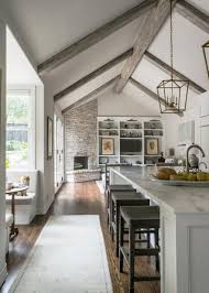 White Contemporary Kitchen With Vaulted Ceilings