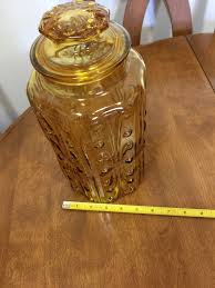 very large amber colored vintage glass canister
